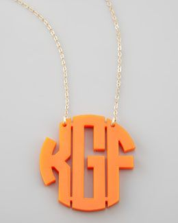 Moon & Lola Large Acrylic Block Monogram Pendant Necklace GFUUaZ8