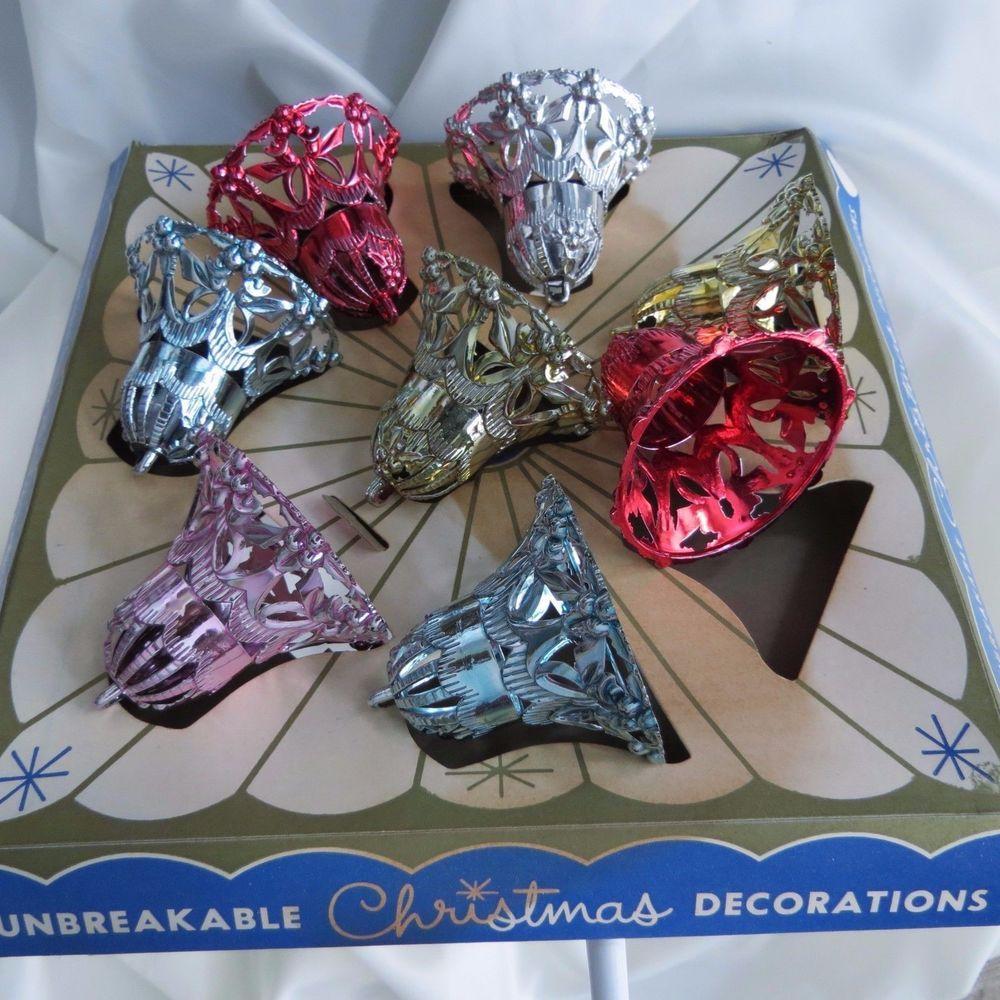 Bradford christmas ornaments - 8 Vintage Bradford Hard Plastic Filigree Bell Christmas Ornaments W Box Made Usa