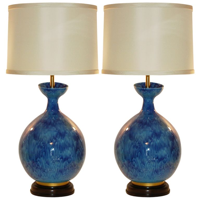 High Quality HUGE Vintage Italian Ceramic Table Lamps By Marbro | From A Unique  Collection Of Antique And