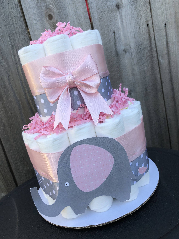 Elephant Diaper Cake Pink Diaper Cake Baby Girl Diaper