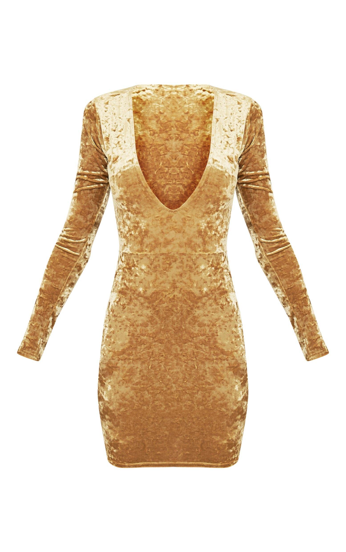 3e19d37b4e Charlie Dark Gold Plunge Detail Velvet Mini Dress Image 4
