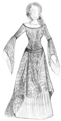 drawing of a medieval dress it's very beautiful  trajes