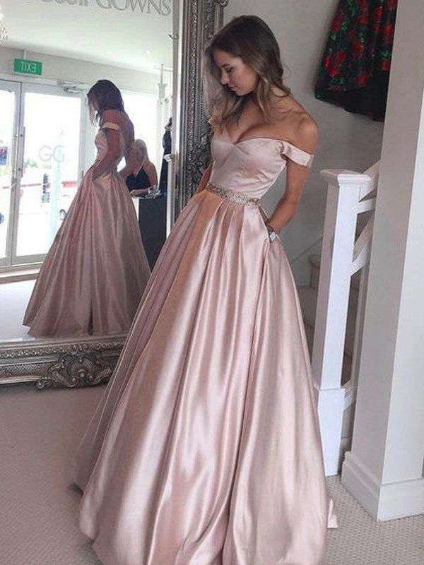 c4a2ca1350399 A-Line/Princess Off-the-Shoulder Sleeveless Sweep/Brush Train Satin Dresses  - Prom Dresses - Hebeos Online $158