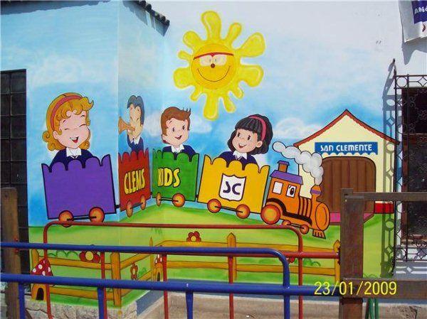 Pintor de murales infantiles colegios nidos luis quispe for Decoracion para jardin de ninos
