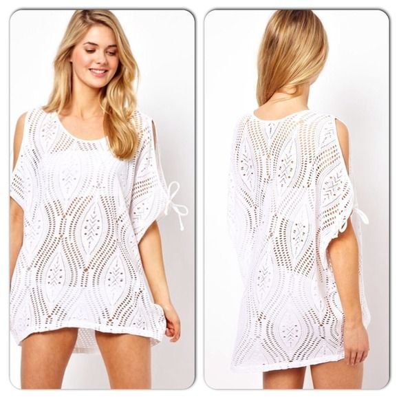 9283d8c6dee Sexy White See Thru Slit Shoulder Beach Cover Up See through hollow out  detail slit shoulder with ties Swim Coverups