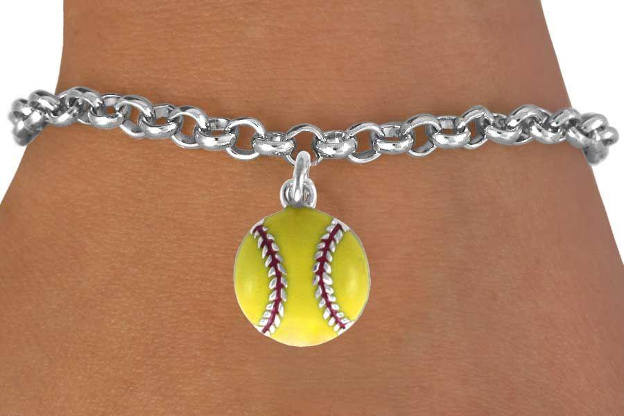 Softball Bracelet Silver Chain W Enamel Charm