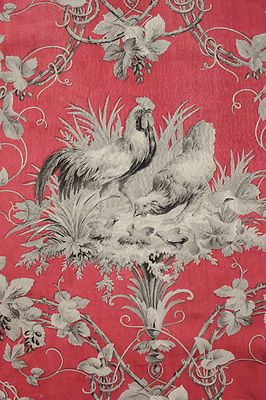 Antique French Country Rooster Fabric Red Gray Chicken Block