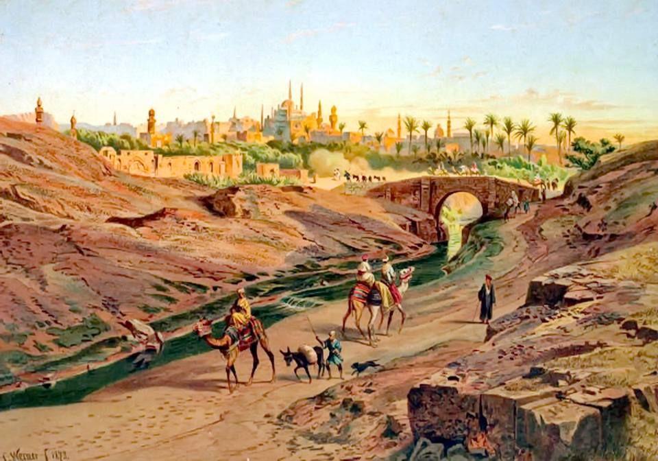 ادخلوها بسلام آمنين للفنان الالماني كارل فيرنر #Cairo , #Egypt 1873 By Carl  Werner - #Germany , 1808 – 1894   Egypt art, Old egypt, Egyptian art