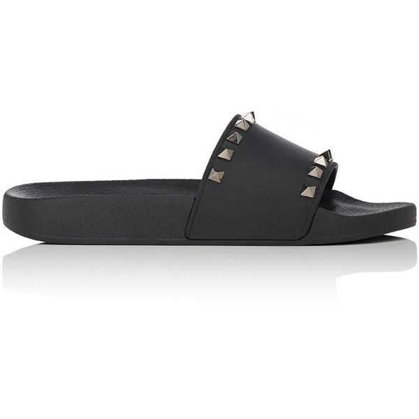 Valentino Women's Rockstud PVC Slide Sandals (€290) ❤ liked on Polyvore featuring shoes, sandals, black, open toe shoes, black open toe shoes, valentino sandals, black slide sandals and black slip-on shoes