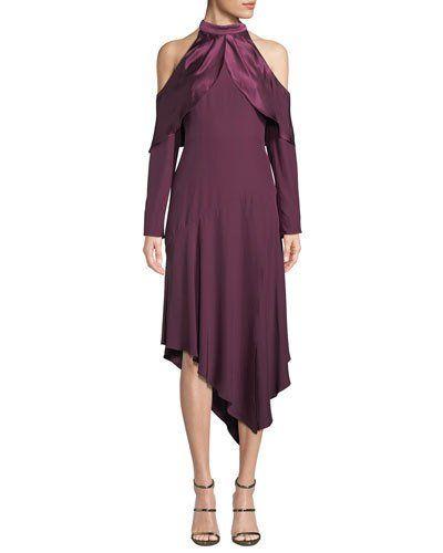 Parker Tanya Cold-Shoulder Silk Handkerchief Dress