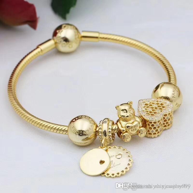 Black Friday 2018 Pandora Shine Gold Plated Theodore Bear Charm Bracelets Bangle 925 Sterling Silver Jewelr Mom Charm Bracelet Bracelet Designs Pandora Jewelry