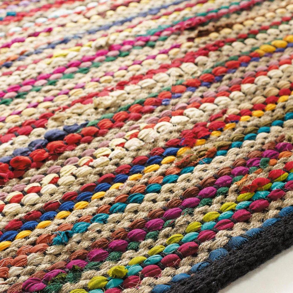 Teppich bunt gestreift  Flechtteppich ROULOTTE aus Baumwolle, 140 x 200 cm, bunt | teppich ...