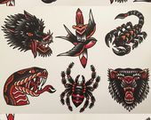 Photo of Traditional tattoo flash  Traditional tattoo flash   Etsy    This image has get …