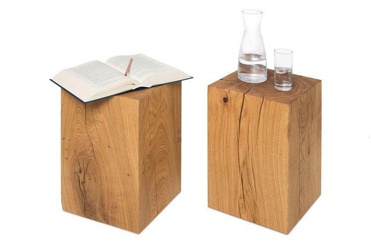 Hocker 30x30x45 cm Holz Eiche Massivholz Sitzhocker