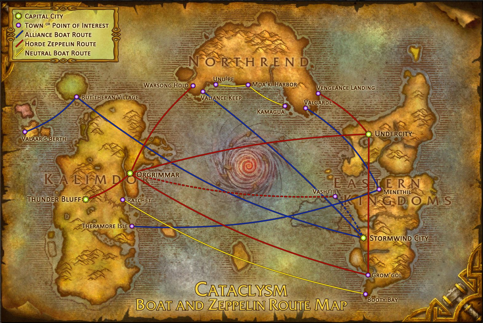 amazing map of world of warcraft world routes and travel paths