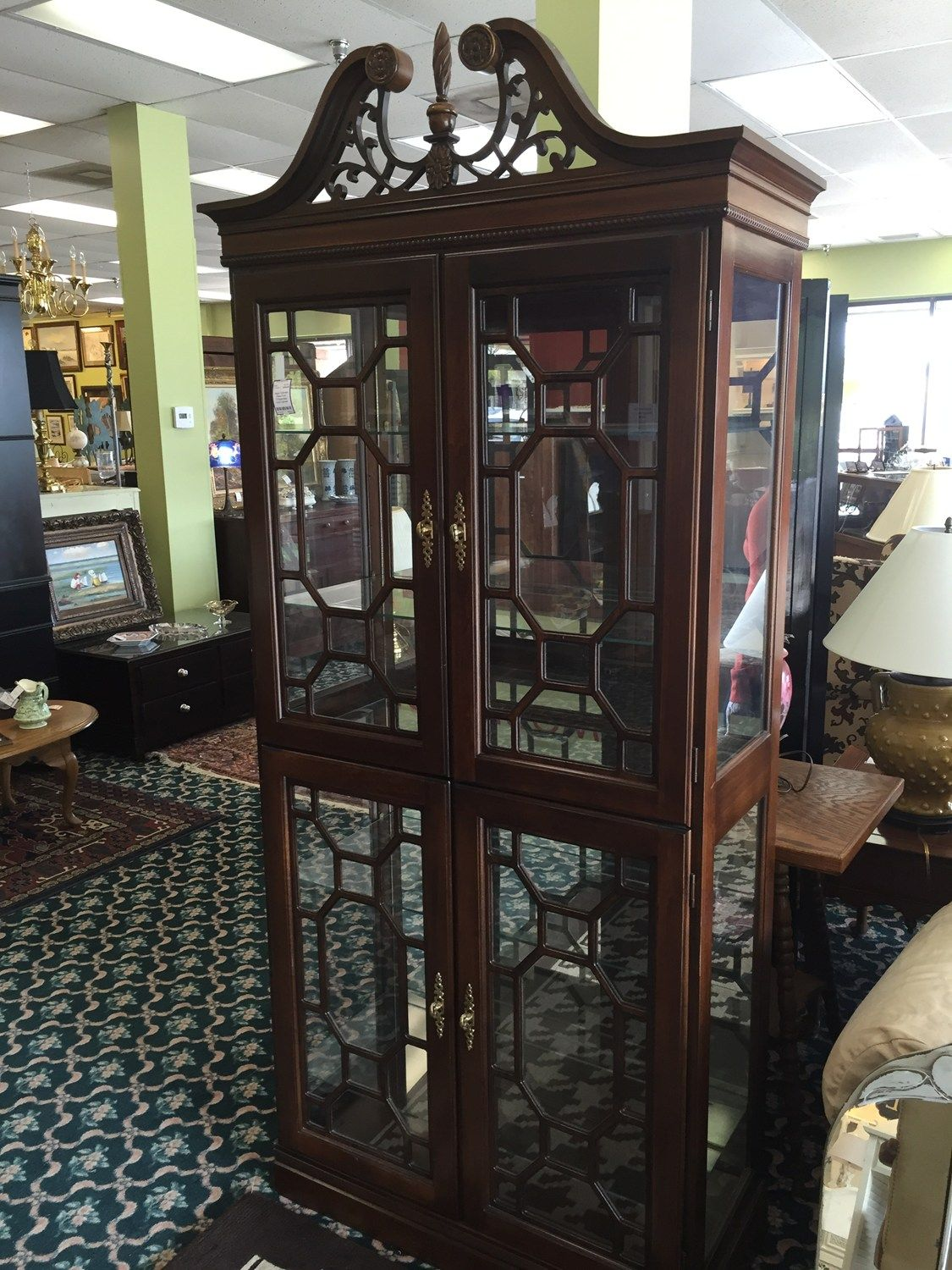 Jasper Cabinets: Chippendale Curio Cabinet   Columbus SKU: NEXW4L   On Sale  For $375