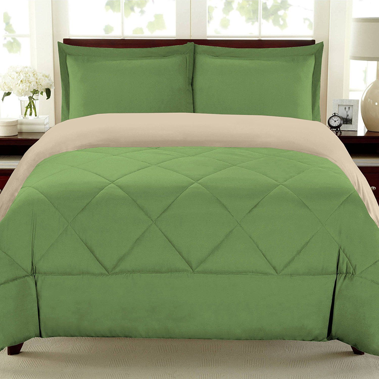 green cream pleated pattern comforter full queen size luxury master
