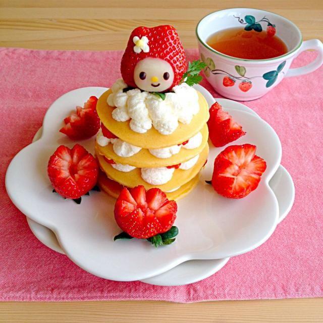 Strawberry Flower Pancake Creative Kids Breakfast Food Art