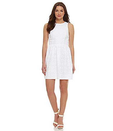 kensie Embroidered Eyelet Dress #Dillards