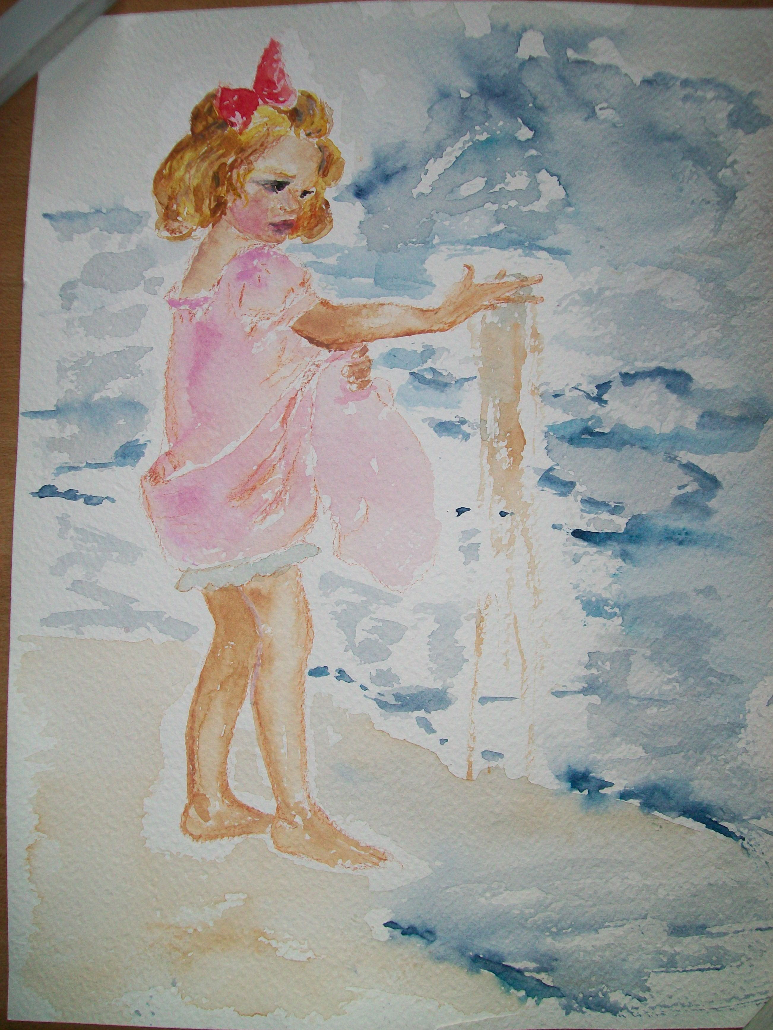 Copia in acquerello della bambina con la sabbia di JWS Acquerello