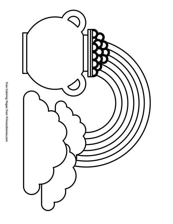 St. Patrick\'s Day Coloring Pages eBook: Rainbow and a Pot of Gold ...