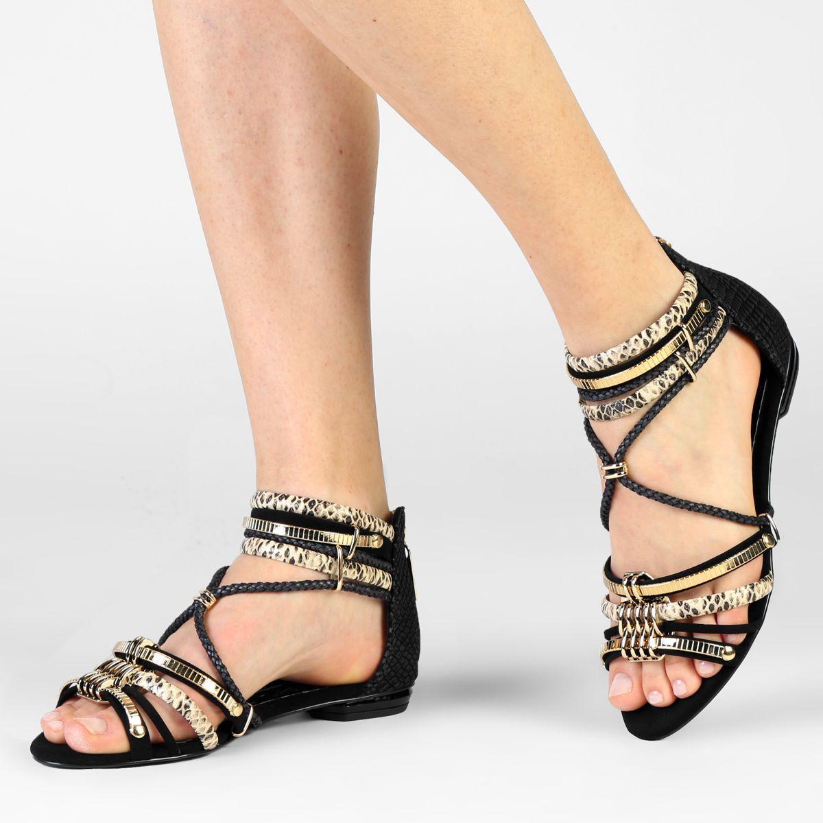 22c91393c Rasteira Ellus Metal Preto | Zattini | Sandals | Metal preto, Looks ...