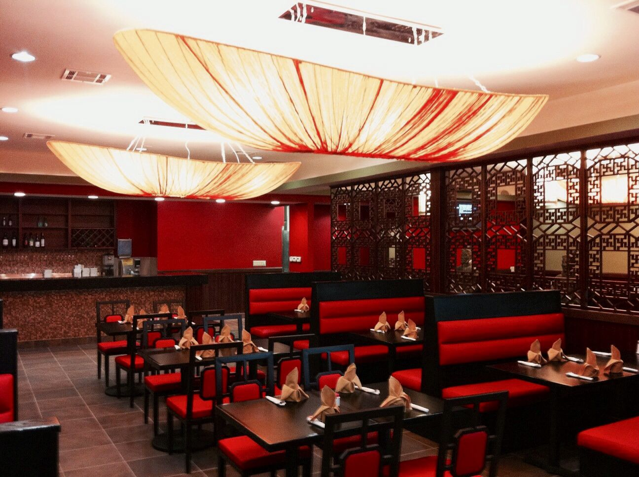 homely idea restaurant decor. Joy feast  Encino Red black restaurant interior design CHINESE food Work done booths and