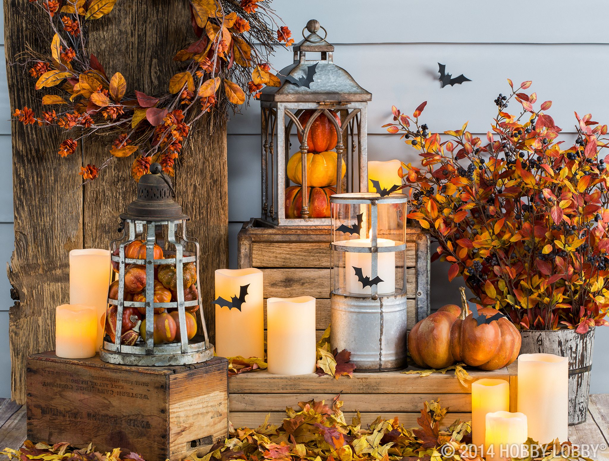 Lanterns light the way to a cozy front porch this autumn season - Hobby Lobby Halloween Decorations