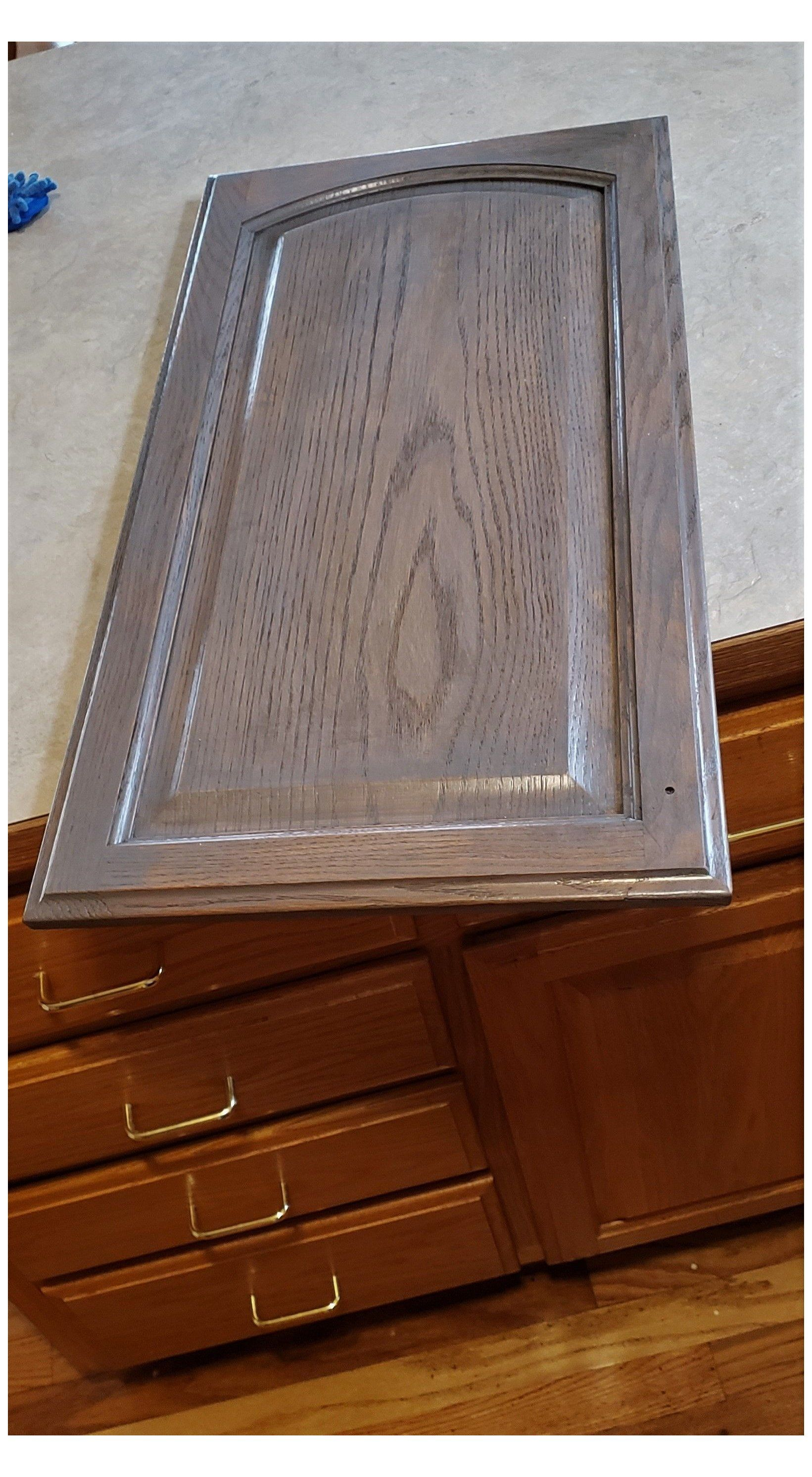 General Finishes Ash Gray Gel Stain On Golden Oak I Want To Change My Golden Oak Cabinets So In 2020 Staining Cabinets Staining Oak Cabinets Stained Kitchen Cabinets