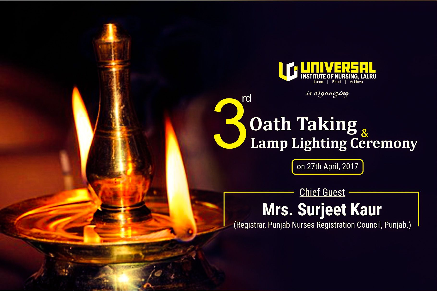 Universal Institute of Nursing is organizing 3rd Oath Taking  for Lighting Lamp Ceremony  173lyp