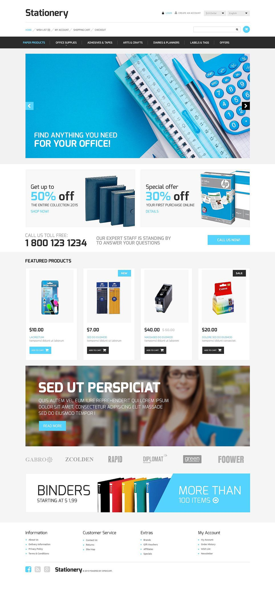 Stationery Store Opencart Template Ad Store Stationery Template Opencart Opencart Templates Opencart Stationery Store