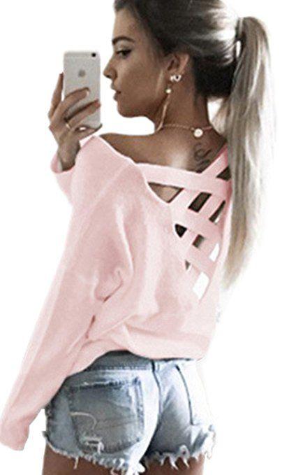 c7095db8ebd50a Ecowish V Ausschnitt Oberteile Damen Kreuz Pullover Langarmshirts Tops Hemd  Shirt