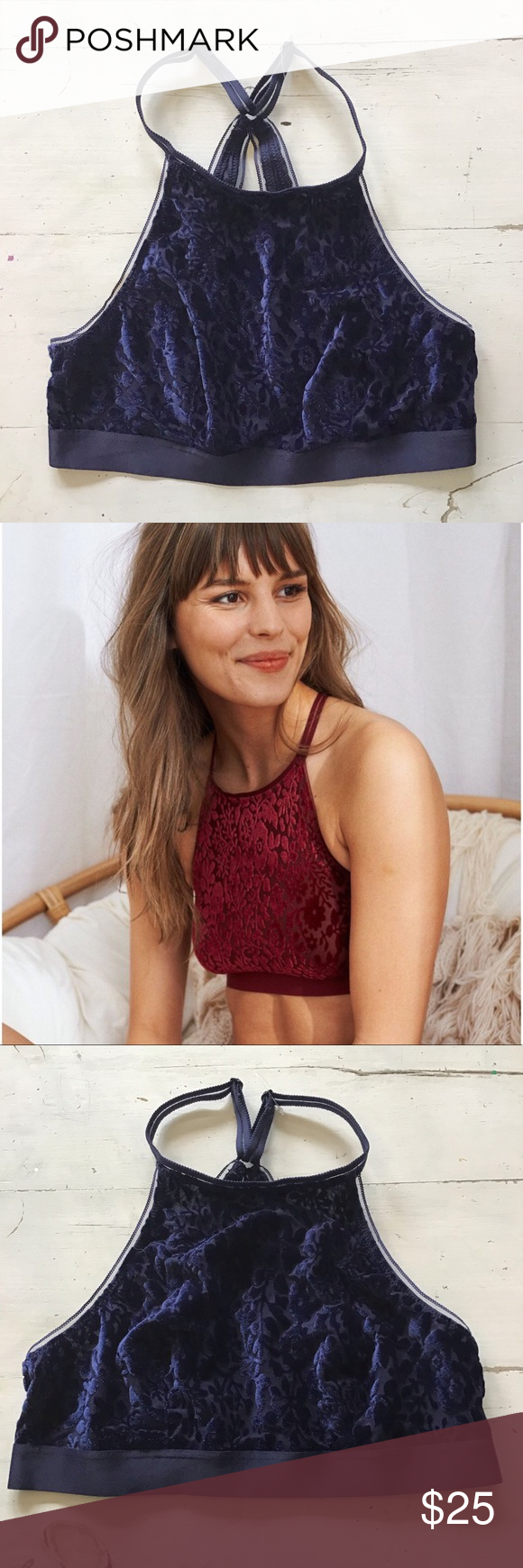 a42ccfd570f5f NEW ~ aerie Velvet high neck Bralette New with no tags! Beautiful burnout  floral velvet bralette Navy blue Adjustable straps and back aerie Intimates    ...