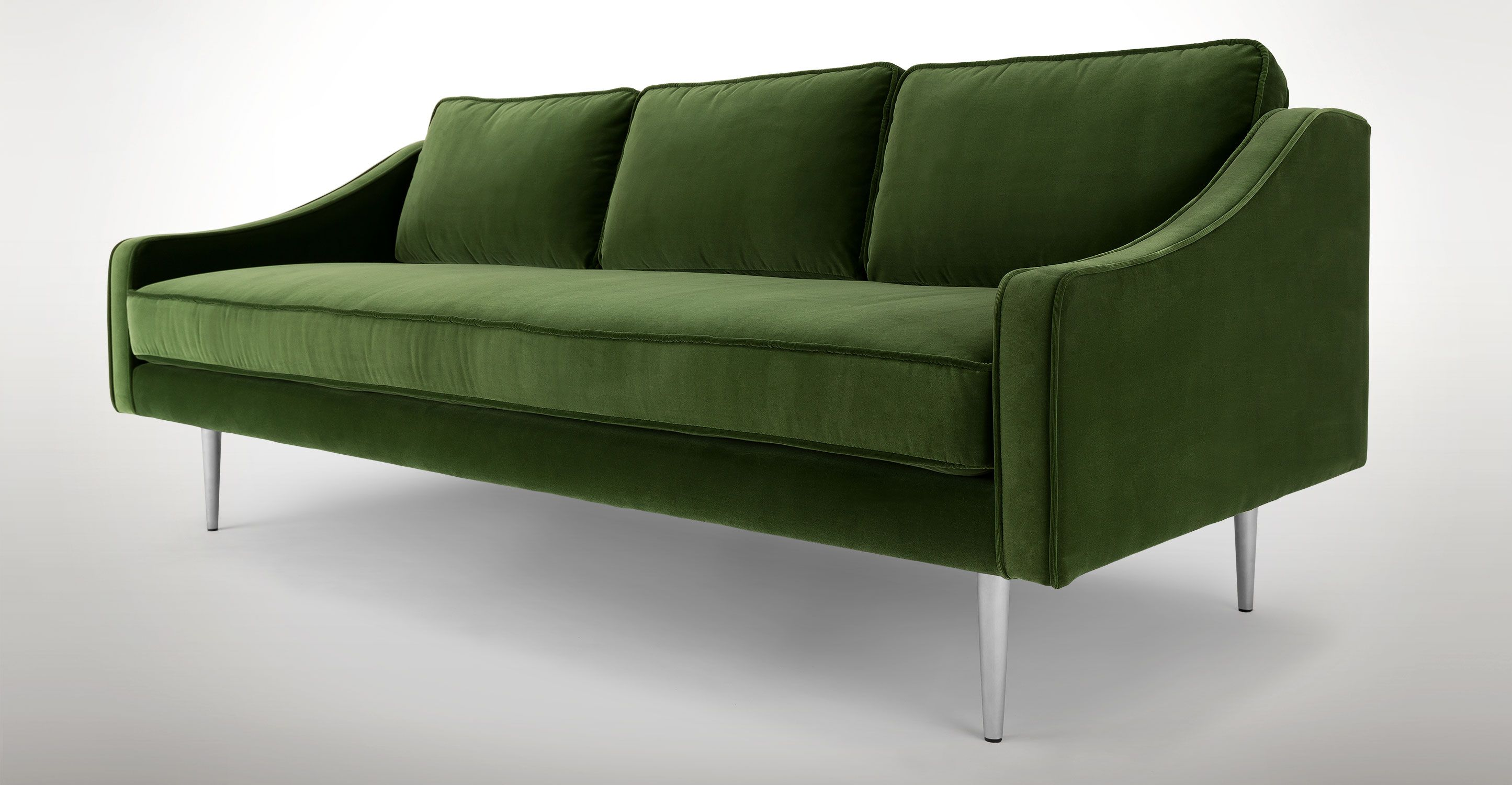 Green Velvet Sofa With Steel Legs
