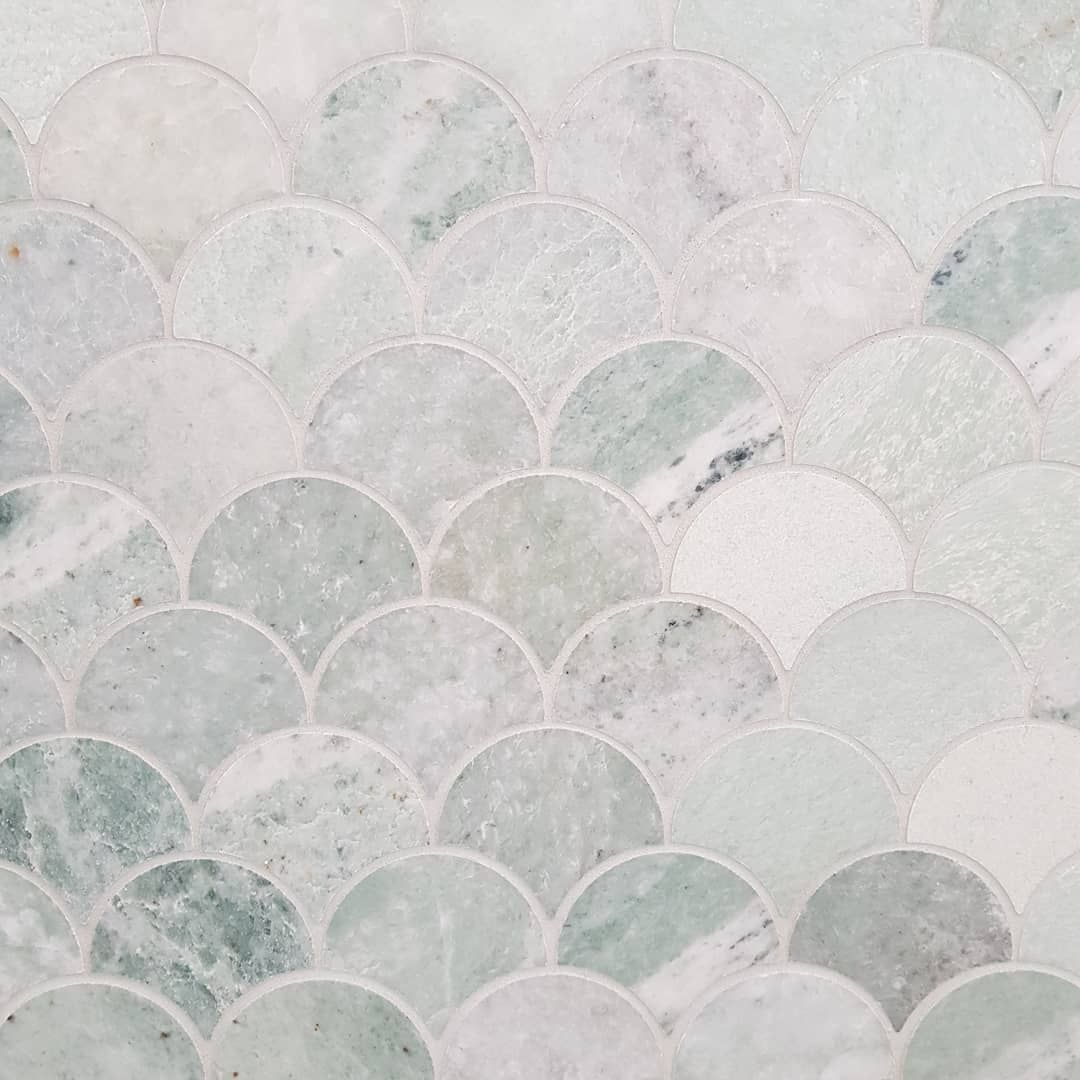 Ming Green Marble Fishscale Tile Green Marble Marble Look Tile Ming Green Tile