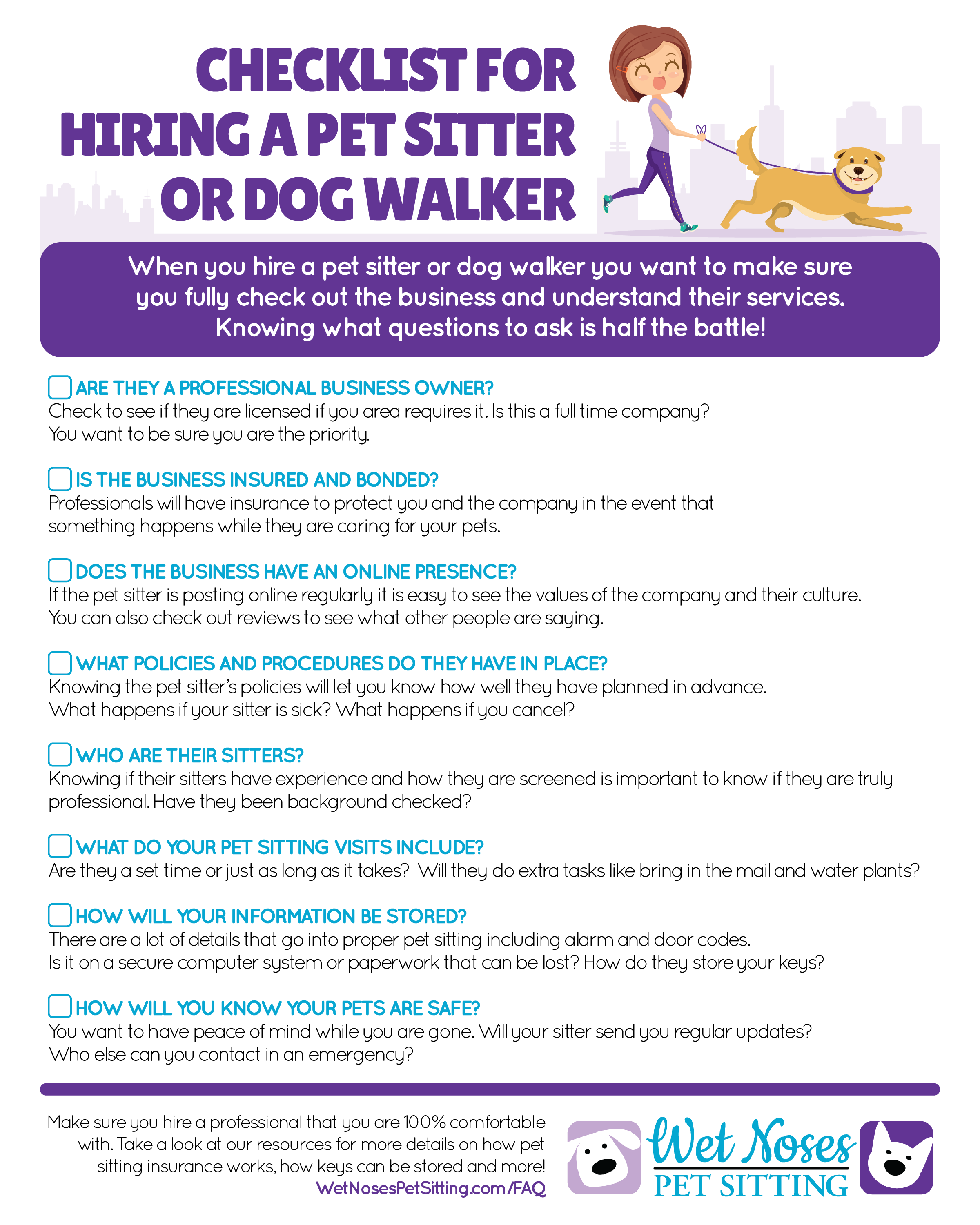 Checklist For Hiring A Pet Sitter Or Dog Walker Wet Noses Pet Sitting Pet Sitters Dog Walker Dog Walking Business