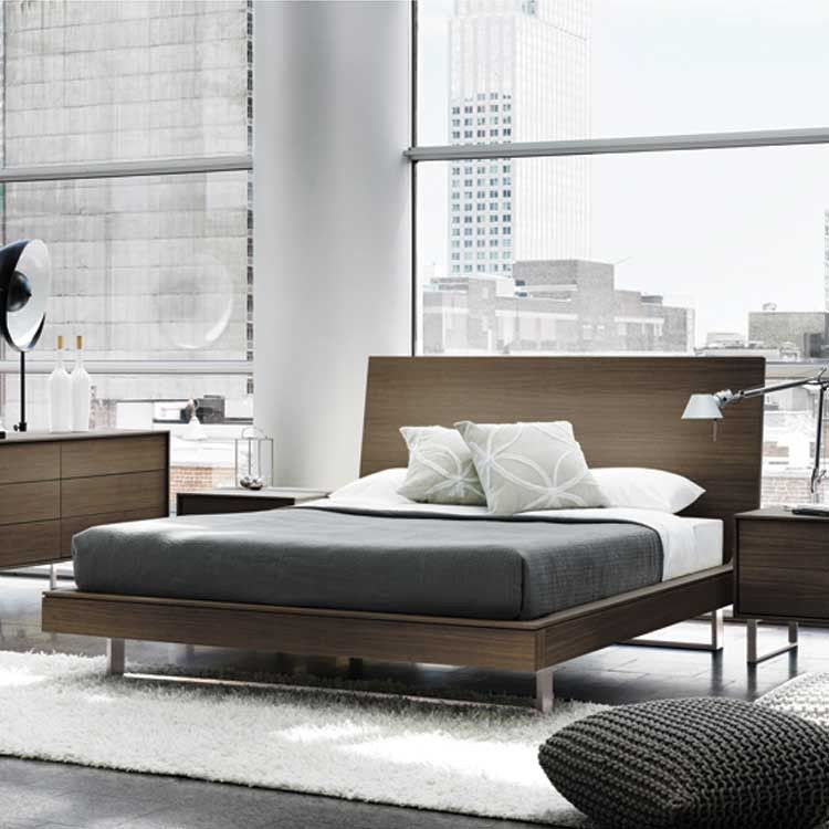 Modern wood floating platform bed & bedroom set
