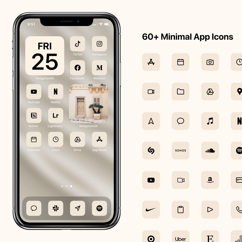 Ios 14 Minimal Icons Cream Minimalist Icon Pack Apple Modern Icon Bundle 60 Icons
