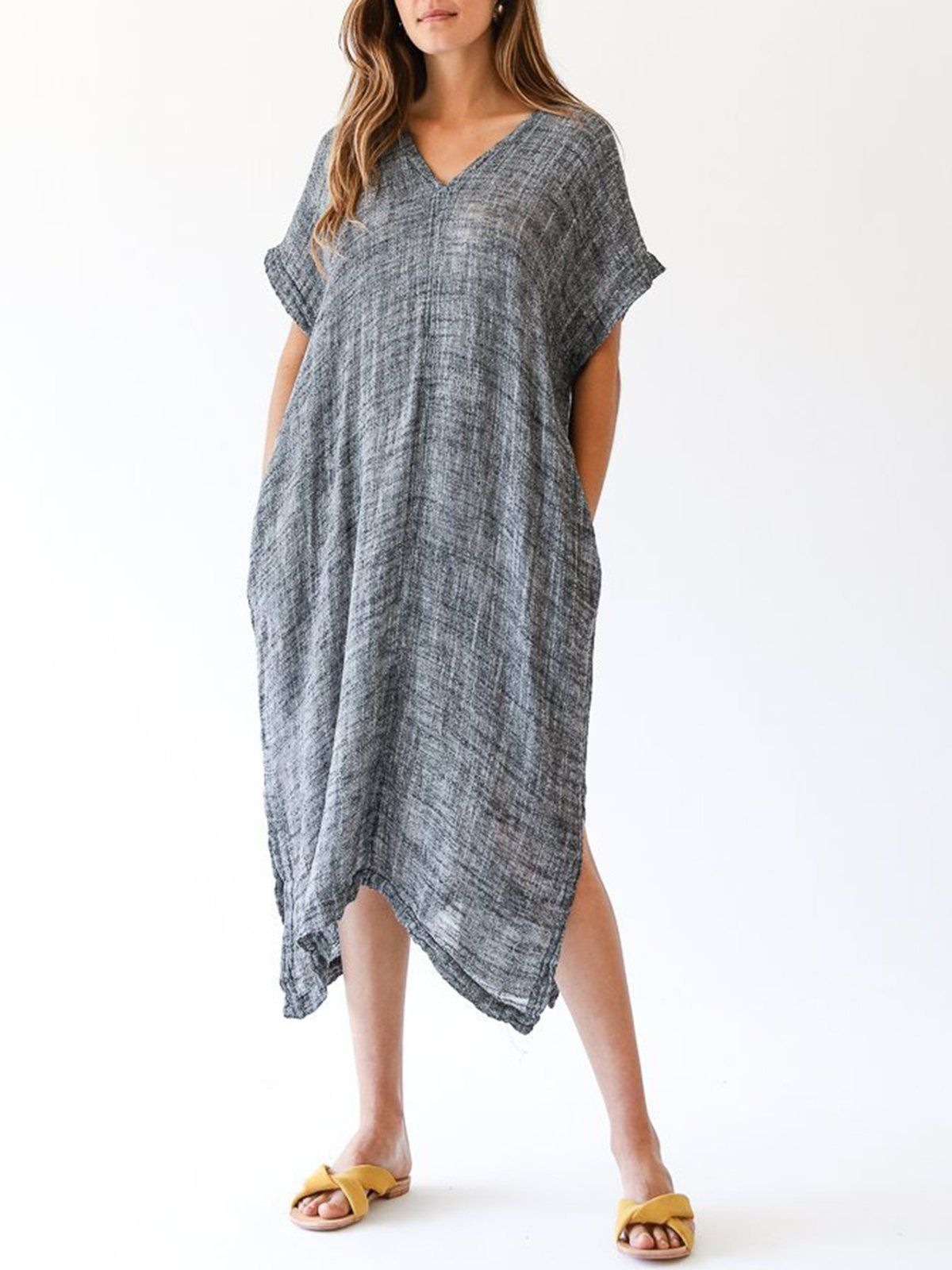 b147bcc5c2 Short Sleeve Casual Solid Shift Linen Dress – NORACORA | want in ...