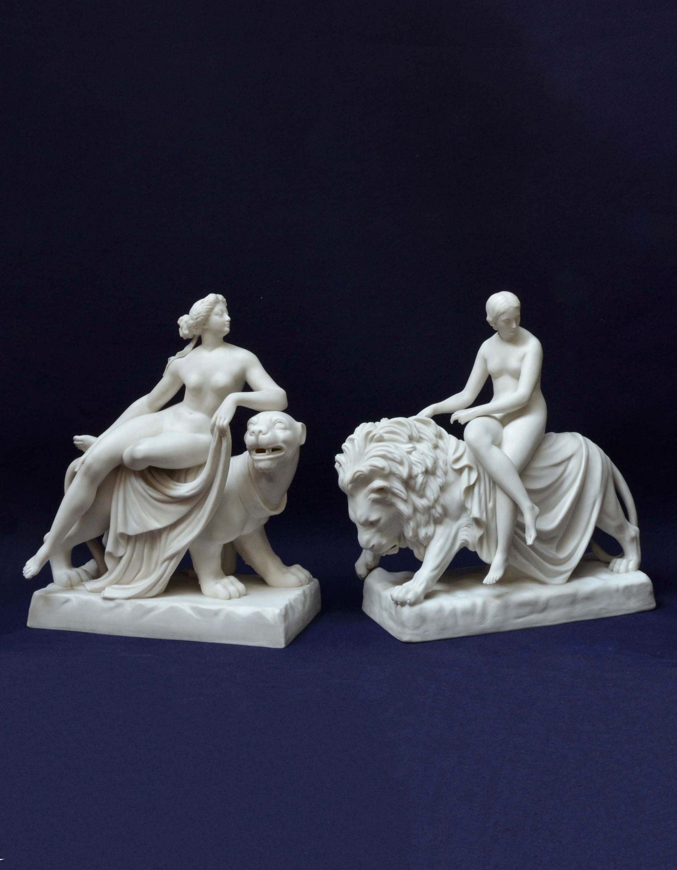 Pair of Parianware 'Ariadne on the Panther' and 'Una and the Lion