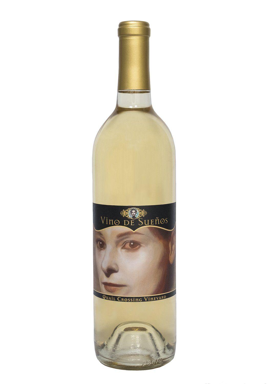 "Art by Zoë Nathan. Oil on gessoed board. 9""x9"" 2011. Quail Crossing Vineyard 2009 Pinot Grigio. Vino de Sueños.  Design by UVA Design Studio."