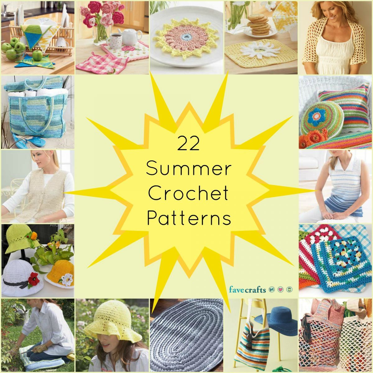 22 Summer Crochet Patterns--crochet patterns for the kitchen, wearable patterns, outdoor crochet patterns, and farmer's market bags.