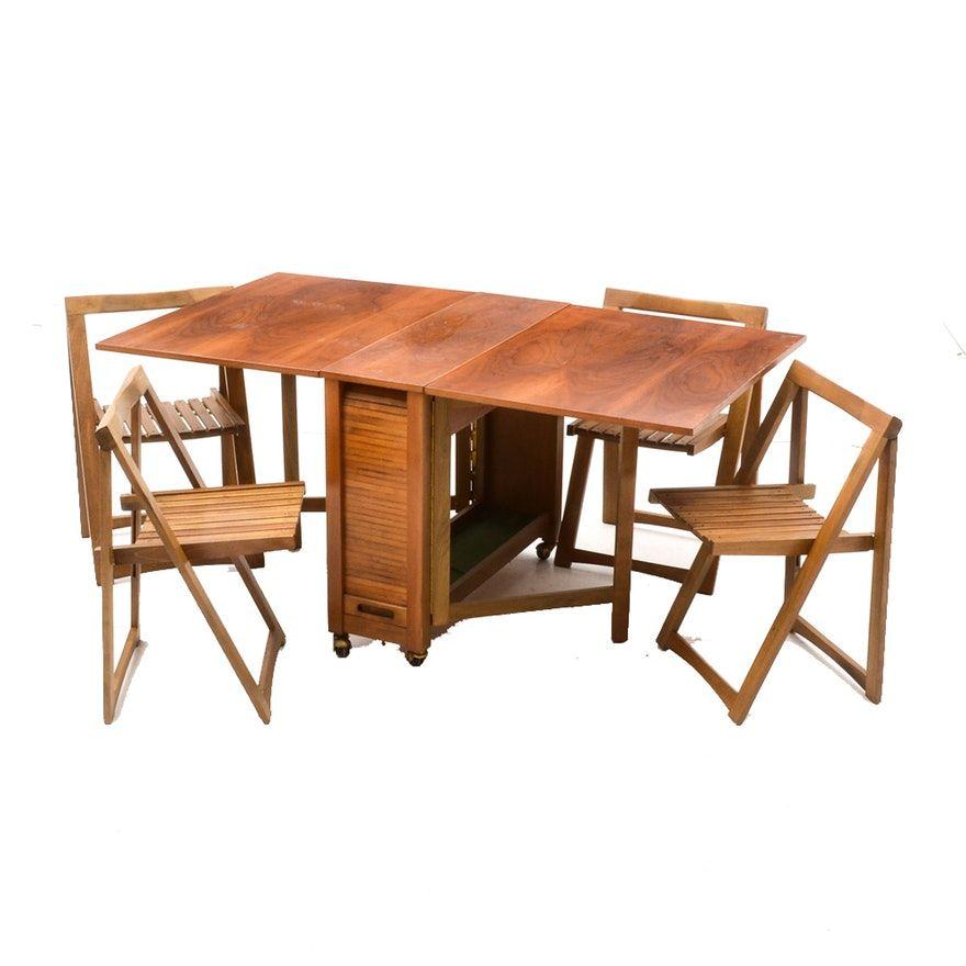 Mid Century Modern Romanian Folding Drop Leaf Table And Chairs Drop Leaf Table Leaf Table Table And Chairs Drop leaf table with folding chairs