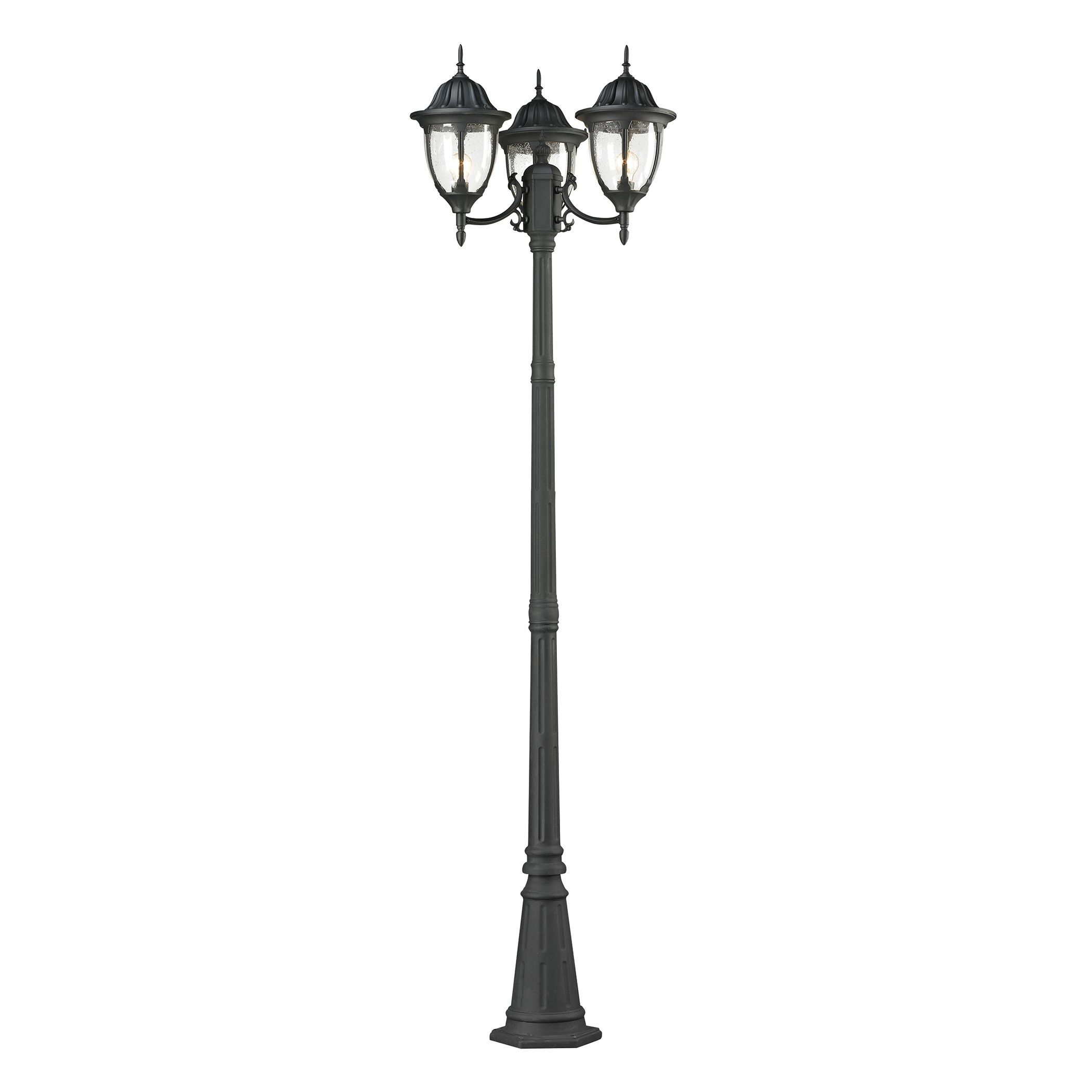 Central Square 3 Light Outdoor Post Light In Textured Matte Black Post Lights Lamp Post Lights Outdoor Post Lights