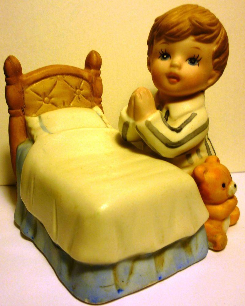 Home interior masterpiece figurines charming bisque porcelain homco figurine bedtime prayer kneeling boy