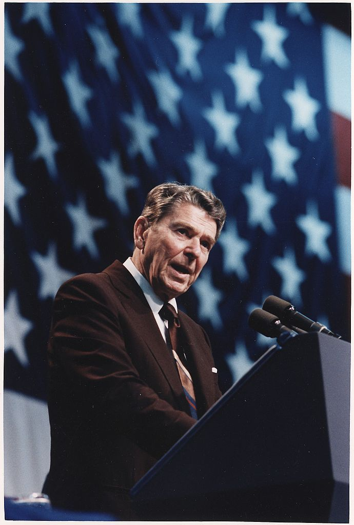 Photograph of President Reagan speaking at a Rally for Representative Broyhill in Greensboro, North Carolina