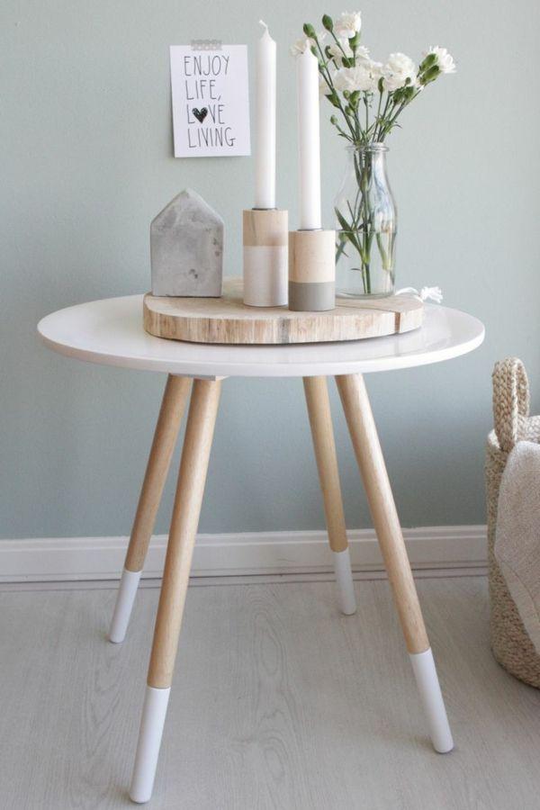 skandinavisches design couchtisch rund holz weiß Beistelltische - design couchtische moderne wohnzimmer