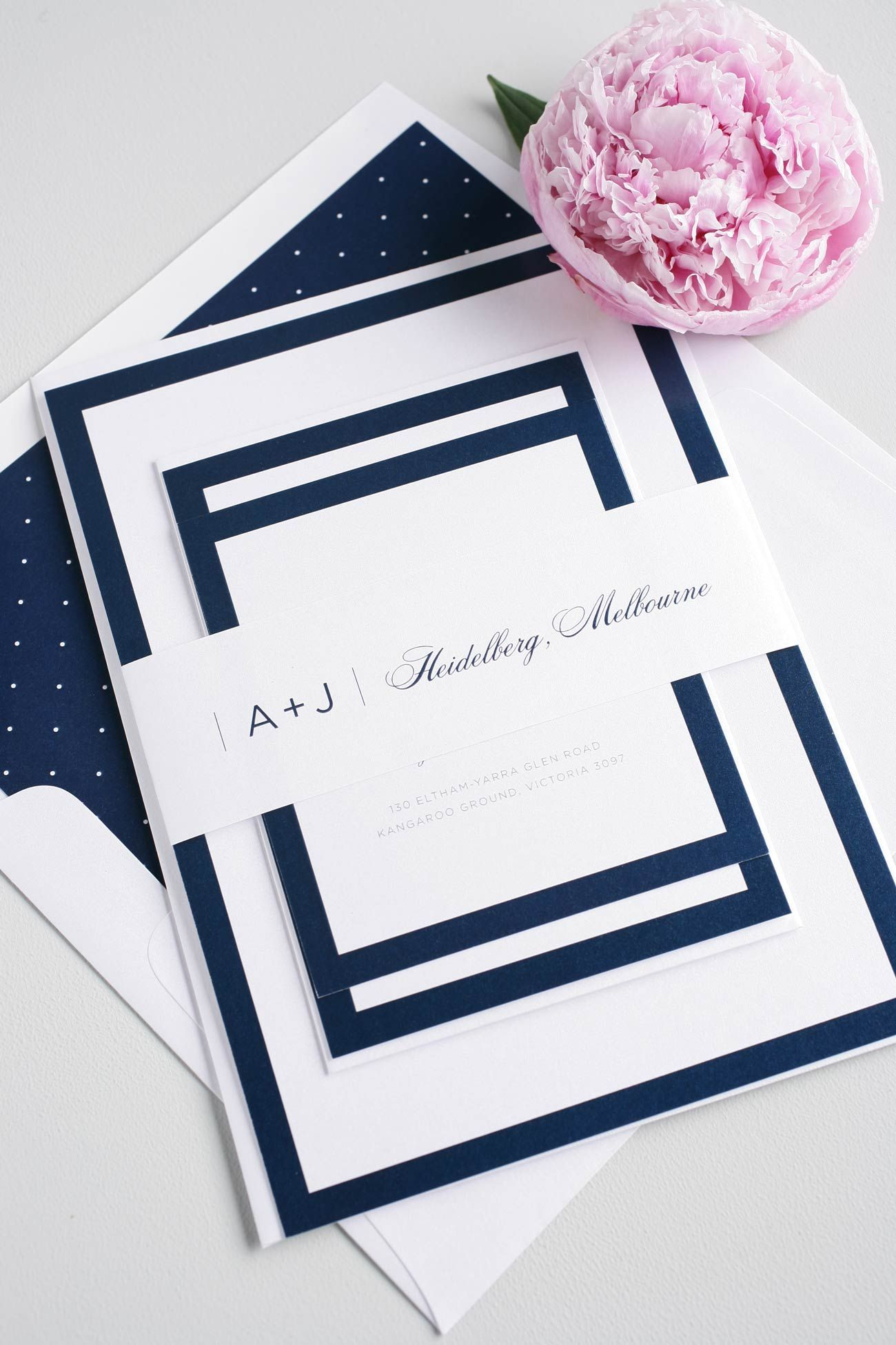 Sophisticated Navy Wedding Invites | Shine wedding invitations ...