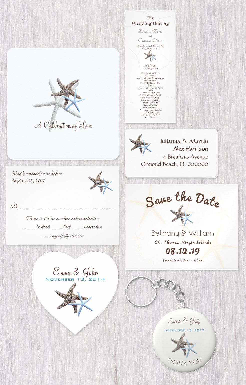 Starfish wedding invitation set with matching stickers, favors, menu ...