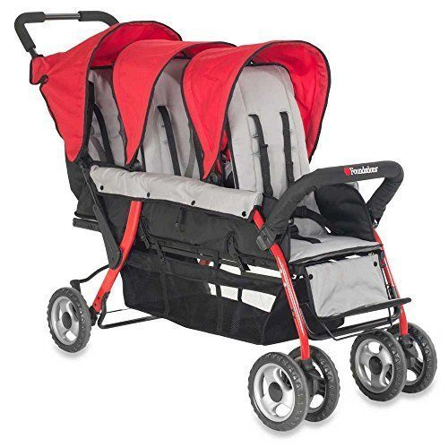 Childcraft The Trio Sport Triple Tandem Stroller Red Notapplicable